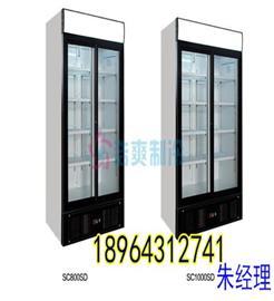 供应西餐厅用的立式双门玻璃冷冻展示柜